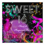 Sweet 16 Masquerade Birthday Party Pink Black Invites