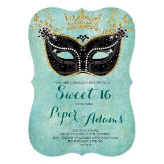 Sweet 16 Masquerade Gold Glitter and Aqua Card