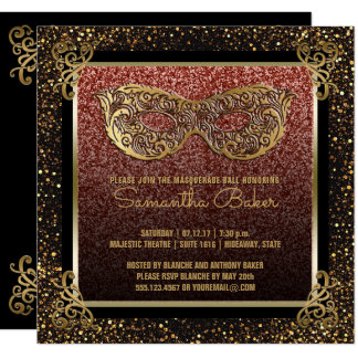 Sweet 16 Masquerade Party Pink Gold Sweet Sixteen Card