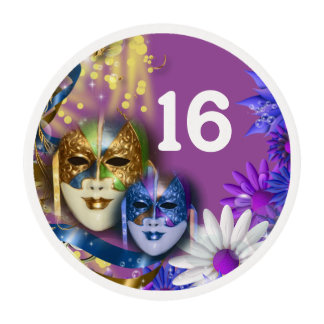 Sweet 16 masquerade PERSONALIZE age (30 units) Edible Frosting Rounds