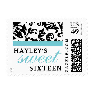 Sweet 16 Modern Damask with Border, Blue Postage