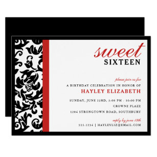 Sweet 16 Modern Damask With Border Red Invitation
