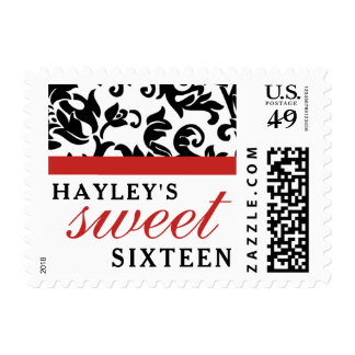 Sweet 16 Modern Damask with Border, Red Postage