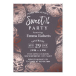 Sweet 16 Modern Rose Gold Floral Elegant Purple Card