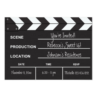Sweet 16 movie clapboard 5x7 paper invitation card