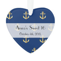Sweet 16 - Nautical Anchors - Blue Gold Ornament