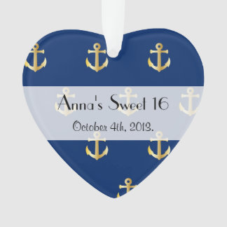 Sweet 16 - Nautical Anchors - Blue Gold Ornament