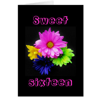 Sweet 16 neon daisies card