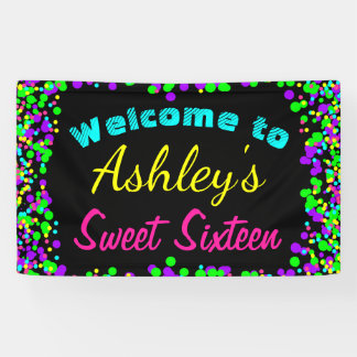 Sweet 16 Neon Glow Confetti Birthday Party Banner