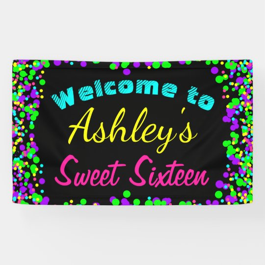 sweet 16 neon glow confetti birthday party banner. Black Bedroom Furniture Sets. Home Design Ideas