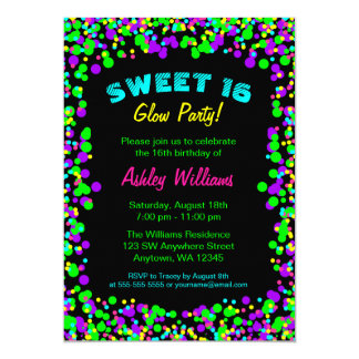 Sweet 16 Neon Glow Confetti Birthday Party Card
