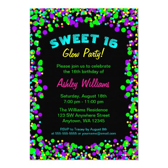 Sweet 16 Neon Glow Confetti Birthday Party Card – Glow Birthday Party Invitations