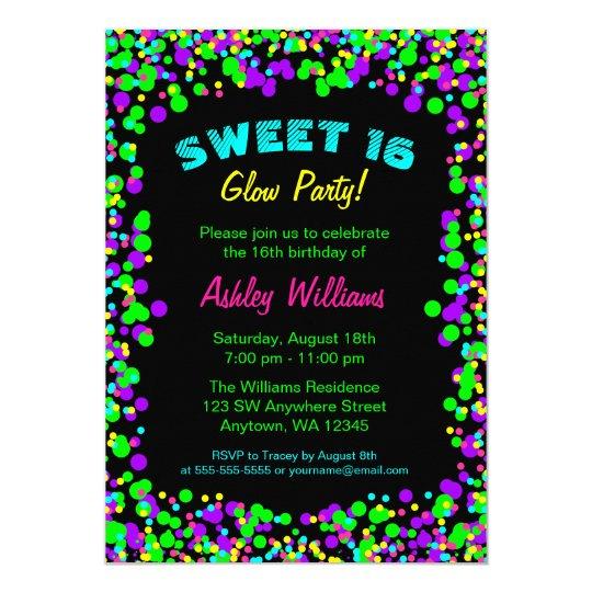 sweet 16 neon glow confetti birthday party invitation zazzle com