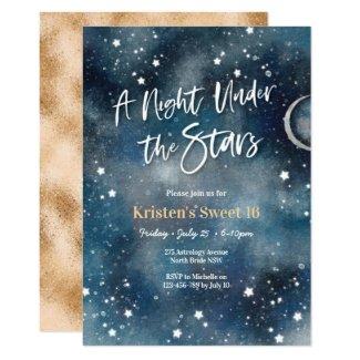 Sweet 16 Night under the stars Party Invitation