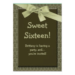 Sweet 16 Olive Green Bow Birthday Party Invitation