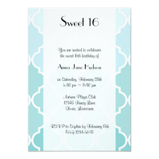 Sweet 16 - Ombre Moroccan Trellis - Blue White Personalized Announcement