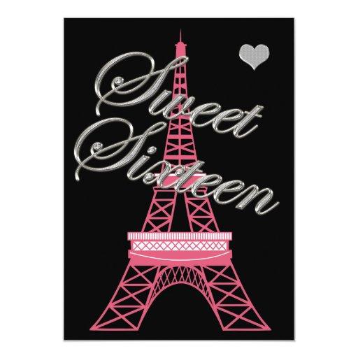 Sweet 16 Paris Eiffel Tower Birthday Invitation   Zazzle