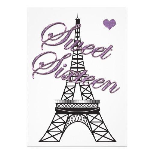 "Paris Eiffel Tower Pillow 16 X 16: Sweet 16 Paris Eiffel Tower Birthday Invitation 5"" X 7"