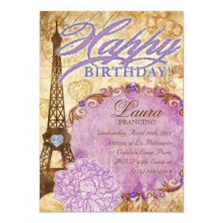 Sweet 16 Paris Eiffel Tower Vintage Flower Purple Card