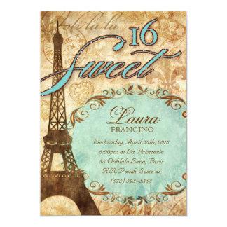 Sweet 16 Paris Invite Eiffel Tower Vintage Blue Br