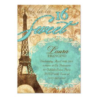 Sweet 16 Paris Invite Eiffel Tower Vintage Blue Te