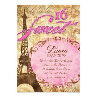 Sweet 16 Paris Invite Eiffel Tower Vintage Pink Br
