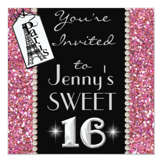 SWEET 16 Paris THEME Party Invitation with BLING!