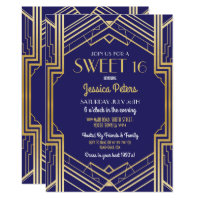Sweet 16 Party Birthday Gatsby Art Deco Invite