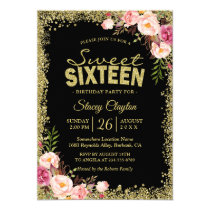 Sweet 16 Party - Black Gold Glitters Pink Floral Card