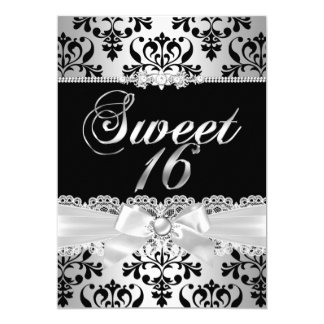 Sweet 16 Party Black Silver Damask Pearl Bow Card
