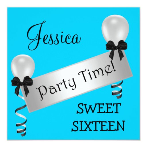 Sweet 16 Party Blue Black Silver Bows Balloons Card