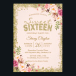 "Sweet 16 Party - Blush Pink Gold Glitters Floral Invitation<br><div class=""desc"">Blush Pink Gold Glitters Floral Sweet Sixteen Birthday Party Invitation. (1) For further customization, please click the &quot;customize further&quot; link and use our design tool to modify this template. (2) If you prefer Thicker papers / Matte Finish, you may consider to choose the Matte Paper Type. (3) If you need...</div>"