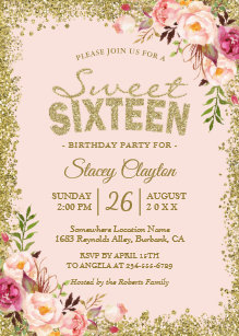 Sweet 16 invitations zazzle sweet 16 party blush pink gold glitters floral invitation filmwisefo