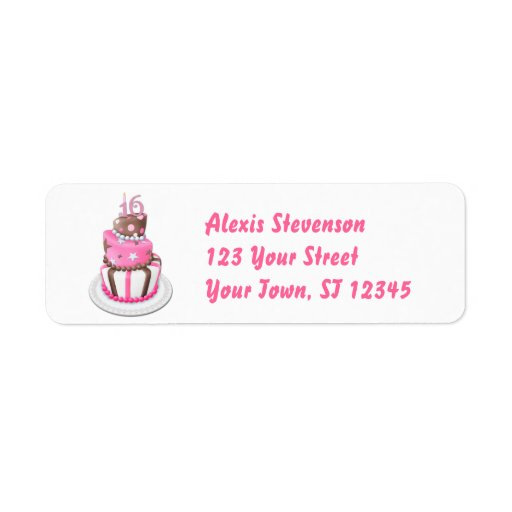 Sweet 16 Party Cake Custom Return Address Label