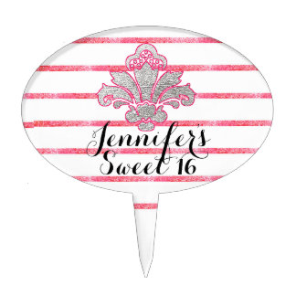 Sweet 16 Party Faux Silver Damask Pink Cakepick