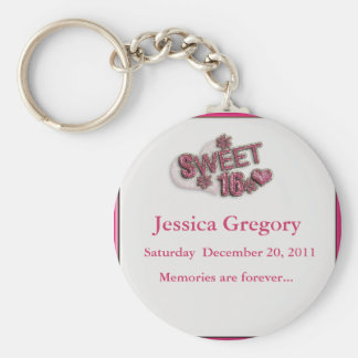 Sweet 16 Party Favors Basic Round Button Keychain