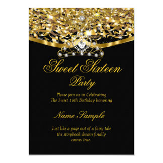 Sweet 16 Party Glitter Gold Black Invitation