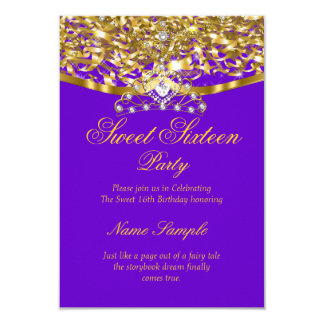 Sweet 16 Party Glitter Purple Gold Invitation