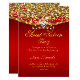 Sweet 16 Party Glitter Red Gold Invitation