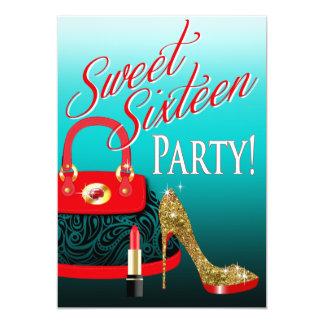 Sweet 16 Party Glitter Stiletto Purse & Lipstick Card