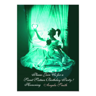 "SWEET 16  PARTY,GREEN BLACK DAMASK 5"" X 7"" INVITATION CARD"