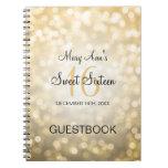Sweet 16 Party Guestbook Gold Glitter Lights Spiral Notebook