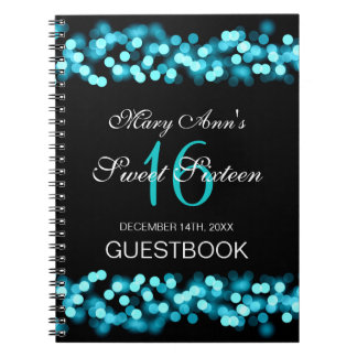 Sweet 16 Party Guestbook Hollywood Glam Turquoise Notebook