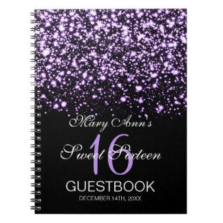 Sweet 16 Party Guestbook Midnight Glam Purple Spiral Notebook