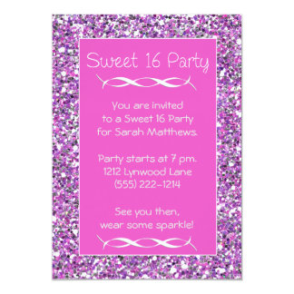 Sweet 16 Party Invitation Pink Silver Sparkle Look