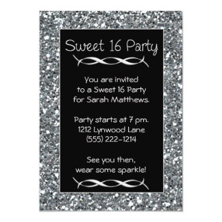 """Sweet 16 Party Invitation Silver Sparkle Look 5"""" X 7"""" Invitation Card"""