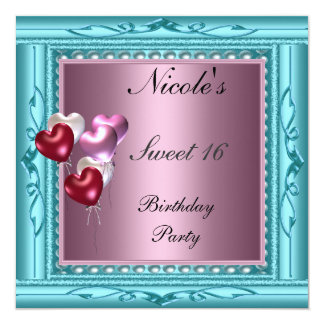Sweet 16 Party Invitation Teal red pink ballons