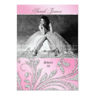 Sweet 16 Party Invite Glitter Leaves Pink