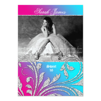 Sweet 16 Party Invite Glitter Leaves Pink Blue