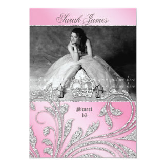Sweet 16 Party Invite Glitter Leaves Pink Crown